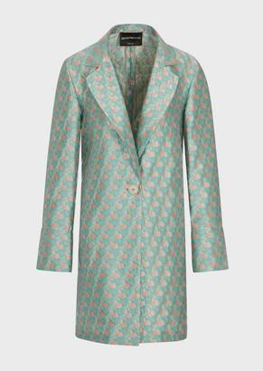 Emporio Armani Prisma Jacquard Overcoat With Lapels