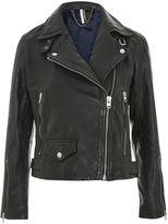 Topshop PETITE Lucky Leather Biker Jacket