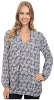 Lucky Brand Tie Front Long Sleeve Top