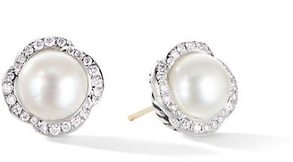 David Yurman Continuance Near Round Cultured Freshwater Pearl & Pave Diamond Stud Earrings