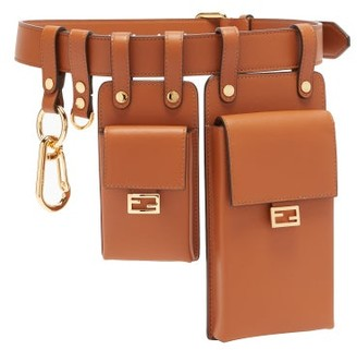 Fendi Multi-pouch Leather Utility Belt - Tan