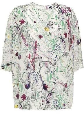 M Missoni Printed Silk Crepe De Chine Top