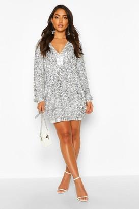 boohoo Sequin Plunge Oversized Shift Dress