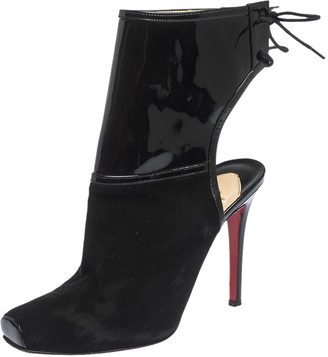 Christian Louboutin Black Suede And Patent Leather Jos Style Ankle Booties Size 39
