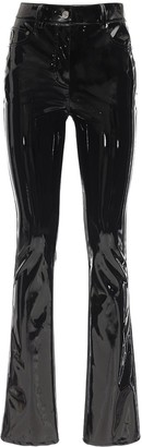 we11done Faux Patent Leather Straight Leg Pants
