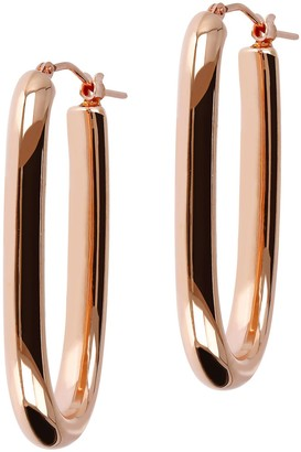 NUOVO Oro Elongated Oval Hoop Earrings 14KGold Over Resin