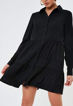 Missguided Black Button Front Smock Shirt Dress