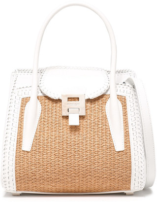 Michael Kors Bancroft Medium Leather And Straw Shoulder Bag
