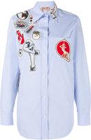 No.21 striped badge appliqué shirt - women - Cotton/Polyester/metal/glass - 36