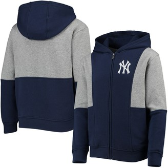 New York Yankees Youth Navy/Heathered Charcoal All That Full-Zip Hoodie