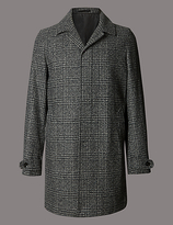 Autograph Buttonsafetm Checked Overcoat With Wool