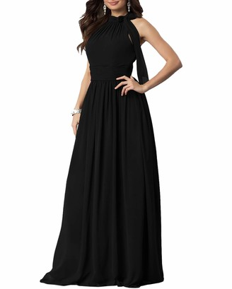 Roiii Women Ladies Evening Gowns Wedding Bridesmaids Long Dresses Chiffon Cold Shoulder Summer Party Maxi Dress (Pink 14-16)