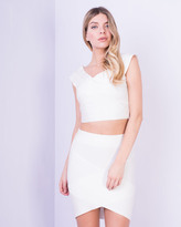 Missy Empire Avalon White Bandage Crop Top & Skirt