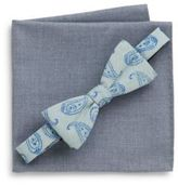 Original Penguin Paisley Bow Tie & Chambray Pocket Square Set