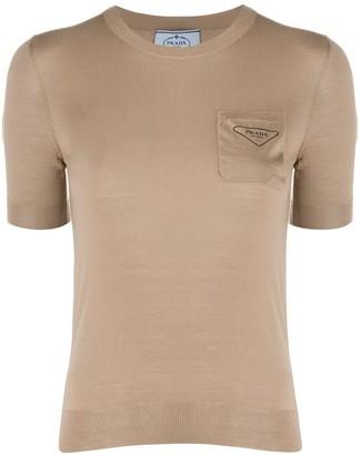 Prada chest pocket crewneck top