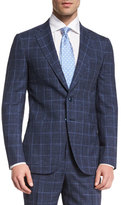Isaia Gregory Melange Windowpane Two-Piece Suit, Navy