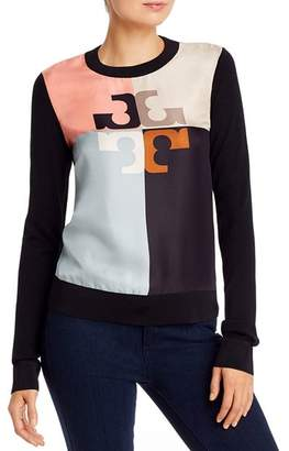 Tory Burch Silk-Front Merino-Wool Sweater