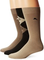 Tommy Bahama Men's 3 Pack Pattern Casual Crew Sock, Black/Boulder/Olive