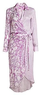 HEMANT AND NANDITA Women's Floral & Stripe Midi Shirtdress