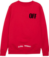 Off-White Oversized Appliquéd Printed Cotton-jersey Sweatshirt - Red