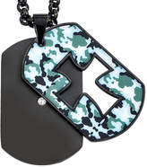 FINE JEWELRY Mens Diamond Accent Camouflage Cross Stainless Steel Dog Tag Pendant Necklace