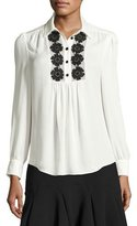 Kate Spade Silk Daisy Lace Henley Blouse, French Cream