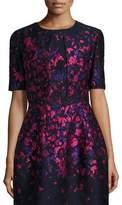 Oscar de la Renta Floral-Embroidered Half-Sleeve Cropped Jacket, Navy/Hot Pink
