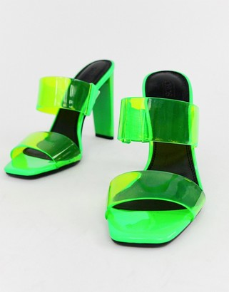 clear Asos Design ASOS DESIGN Hayward block heeled mule in neon green