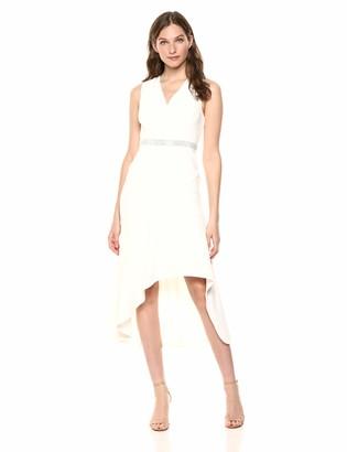 Calvin Klein Women's Sleeveless V Neck Cocktail Dress with Embellished Waist