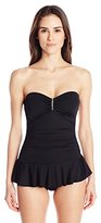 Calvin Klein Women's Solid Bar Bandeau Swim Dress One-Piece Swimsuit