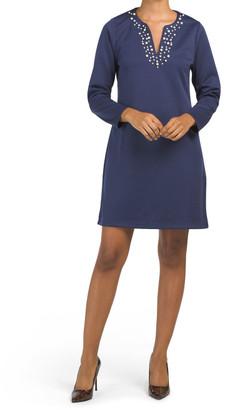 Payton Ponte Dress With Pearl Detail