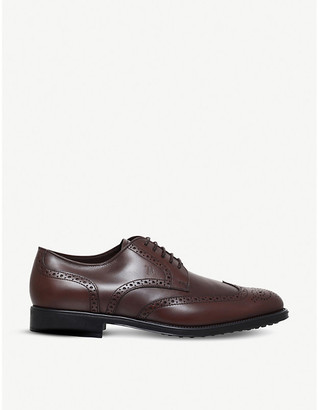 Tod's Tods Mens Brown Brogued Leather Derby Shoes, Size: EUR 45 / 11 UK