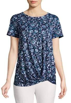 Lord & Taylor Twisted-Front Printed Tee