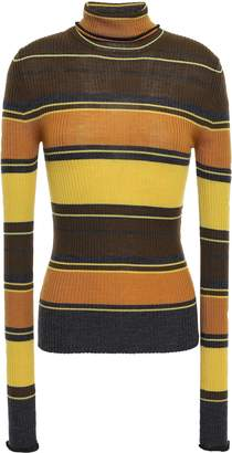 Acne Studios Striped Ribbed Merino Wool Turtleneck Sweater