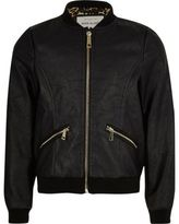 River Island Girls black leather look bomber jacket