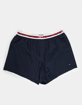 Tommy Hilfiger woven boxer in navy with contrasting stripe logo waistband
