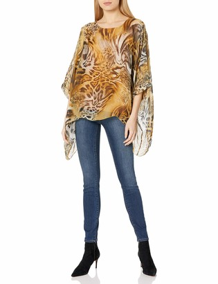 M Made in Italy Women's Animal Print Tunic with 3/4 Sleeve