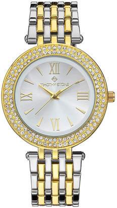 Timothy Stone Women 'Burst' Roman Numeral Crystal Two Tone Boyfriend Bracelet Watch