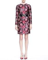 Lanvin Bracelet-Sleeve Floral-Jacquard Sheath Dress