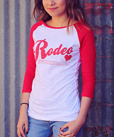 Red & White 'Rodeo Sweetheart' Raglan Tee