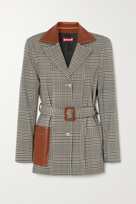 STAUD Paprika Belted Faux Leather-trimmed Prince Of Wales Checked Woven Blazer