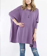 Lydiane Women's Tunics LILAC - Lilac Gray Crewneck Oversize Sweater Poncho Tunic - Women