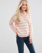 Vila Dexley Stripe V-Neck Sweater