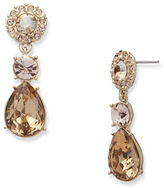 Givenchy White Metal and Glass Stone Drop Earrings