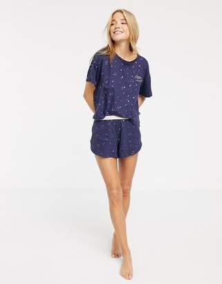 New Look star pyjama shorts set in blue
