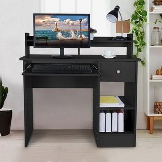 Ebern Designs Anaiz Desk with Hutch Color: White