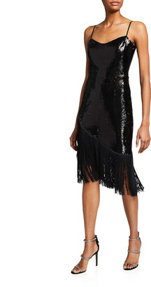 Dress the Population Rosella Sequin Tassel-Hem Dress