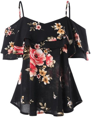 Ni Ka Shirts Ni_ka Women Floral Printing Off Shoulder Shirt Sleeveless Vest Tank Tops Blouse L(Black L)