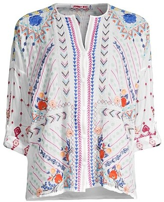 Johnny Was Disha Floral-Embroidered Blouse