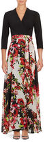 Chetta B Three Quarter Sleeve Two-Tone Floral-Print Gown